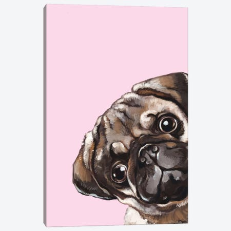 Sneaky Melancholic Pug In Pink Canvas Print #BNW81} by Big Nose Work Canvas Print