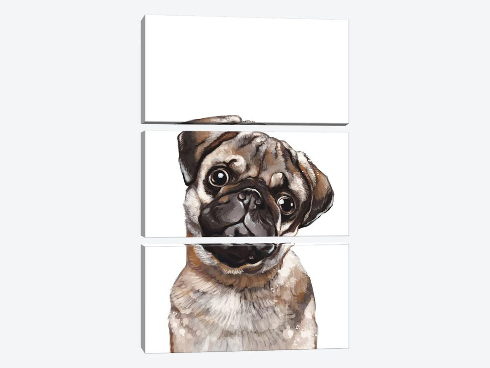 The Melancholic Pug by Big Nose Work 3-piece Canvas Print