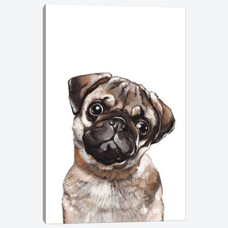 The Melancholic Pug Canvas Print #BNW84} by Big Nose Work Canvas Art