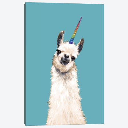 Unicorn Llama In Blue Canvas Print #BNW86} by Big Nose Work Canvas Artwork