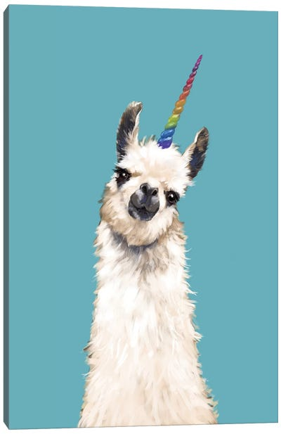 Unicorn Llama In Blue Canvas Art Print