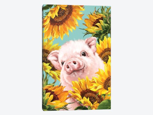 Baby Pig With Sunflower Art Print By Big Nose Work Icanvas
