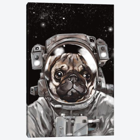 Astronaut Pug Selfie Canvas Print #BNW8} by Big Nose Work Canvas Artwork