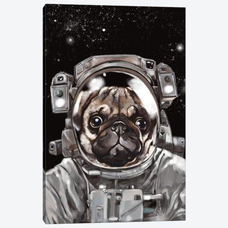 Astronaut Pug Selfie Canvas Print #BNW8} by Big Nose Work Canvas Artwork