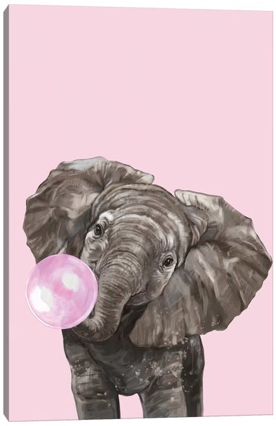 Bubble Gum Elephant In Pink Canvas Art Print