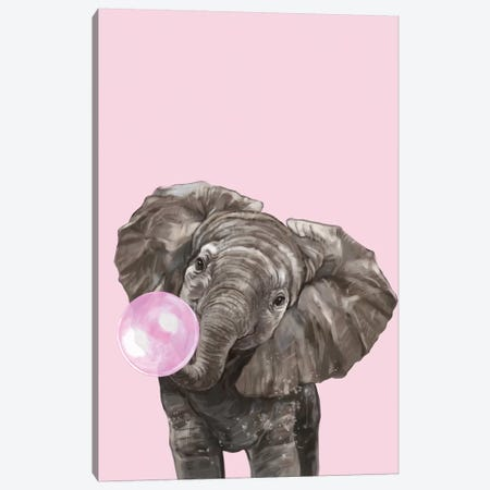 Bubble Gum Elephant In Pink Canvas Print #BNW90} by Big Nose Work Canvas Art