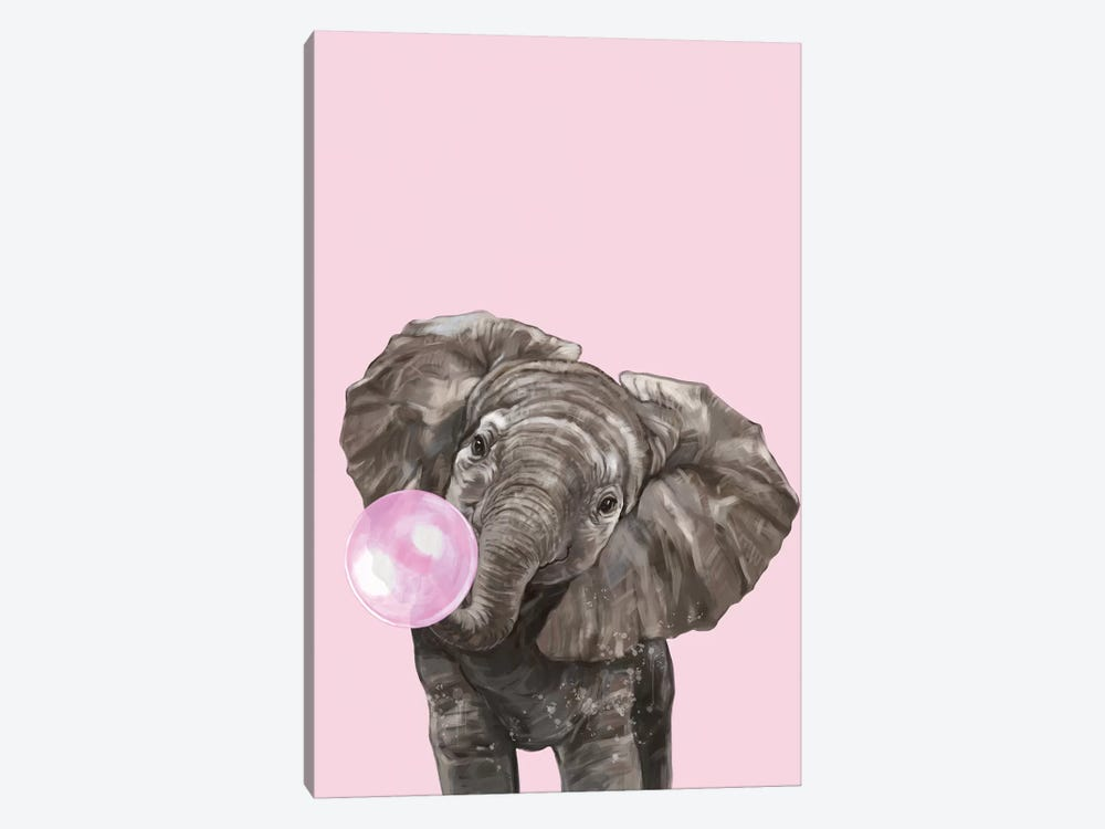 Bubble Gum Elephant In Pink by Big Nose Work 1-piece Canvas Wall Art