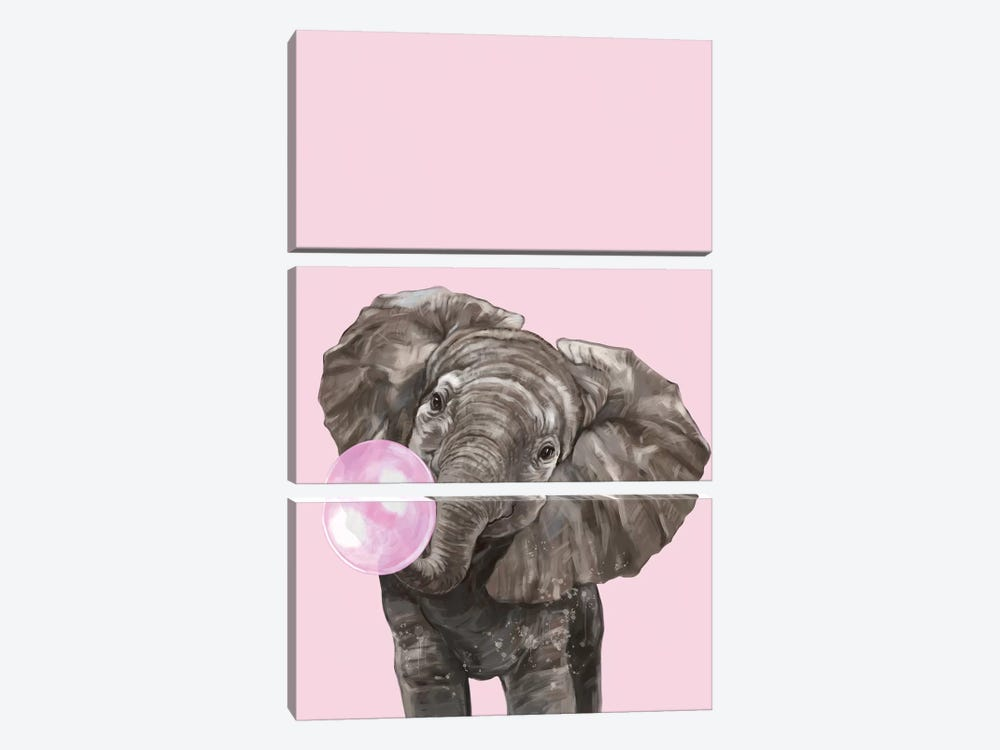 Bubble Gum Elephant In Pink by Big Nose Work 3-piece Canvas Wall Art