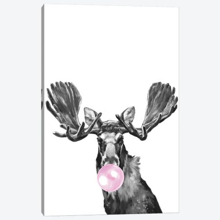 Bubble Gum Moose Black And White Canvas Print #BNW91} by Big Nose Work Canvas Artwork
