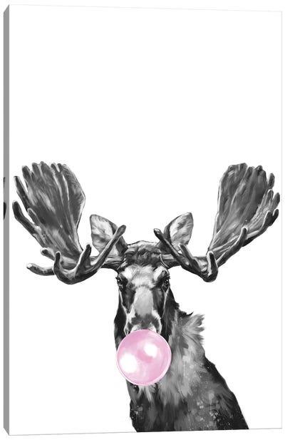 Bubble Gum Moose Black And White Canvas Art Print
