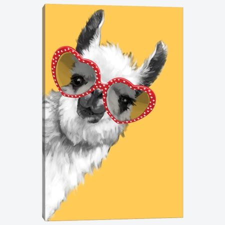 Fashion Hipster Llama With Glasses Canvas Print #BNW93} by Big Nose Work Canvas Wall Art