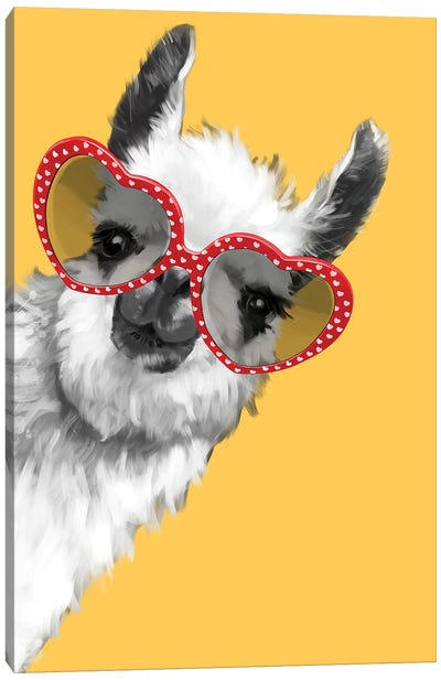 Fashion Hipster Llama With Glasses Canvas Art Print