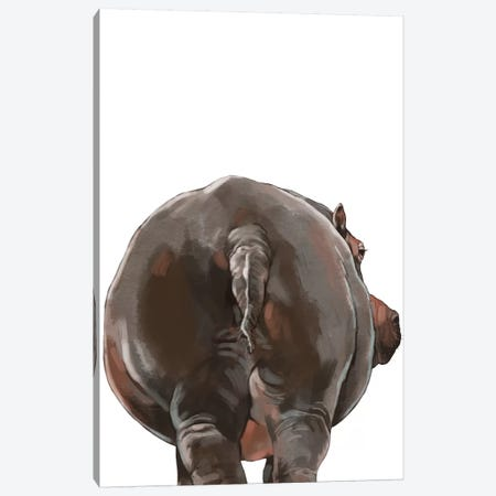 Hippo Butt Canvas Print #BNW96} by Big Nose Work Canvas Art Print
