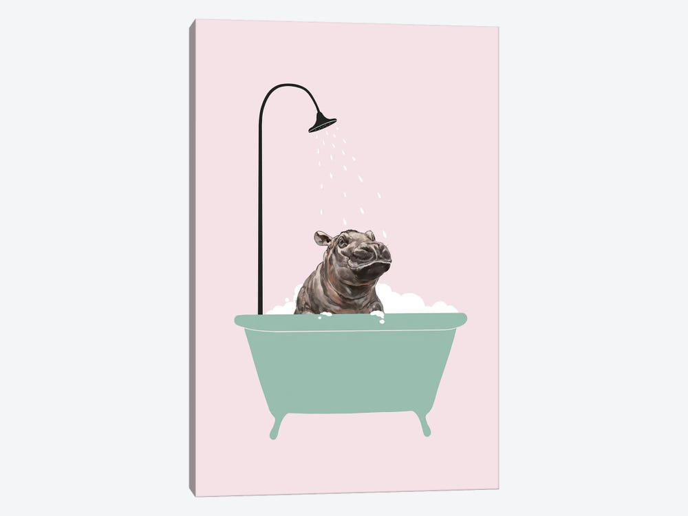 Hippo In Bathtub by Big Nose Work 1-piece Canvas Print