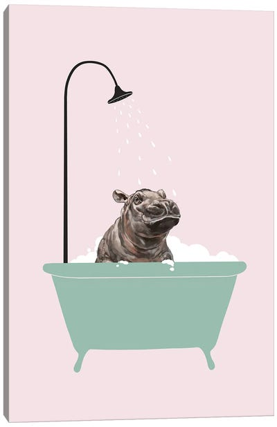 Hippo In Bathtub Canvas Art Print