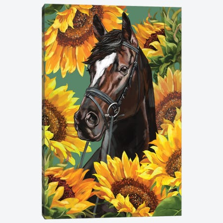 Horsewith Sunflower Canvas Print #BNW98} by Big Nose Work Canvas Wall Art