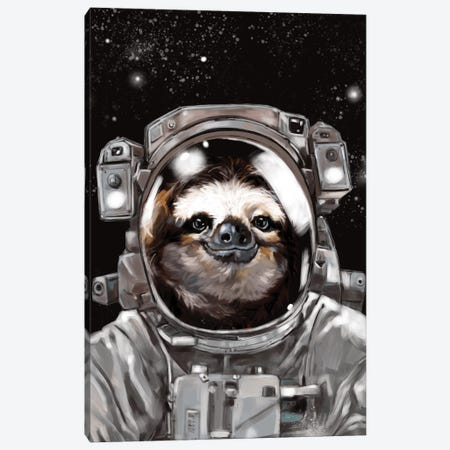 Astronaut Sloth Selfie Canvas Print #BNW9} by Big Nose Work Canvas Wall Art