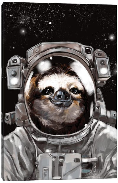 Astronaut Sloth Selfie Canvas Art Print
