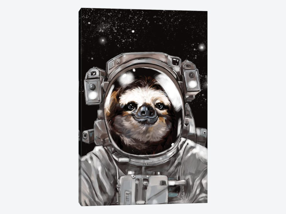 Astronaut Sloth Selfie by Big Nose Work 1-piece Canvas Artwork