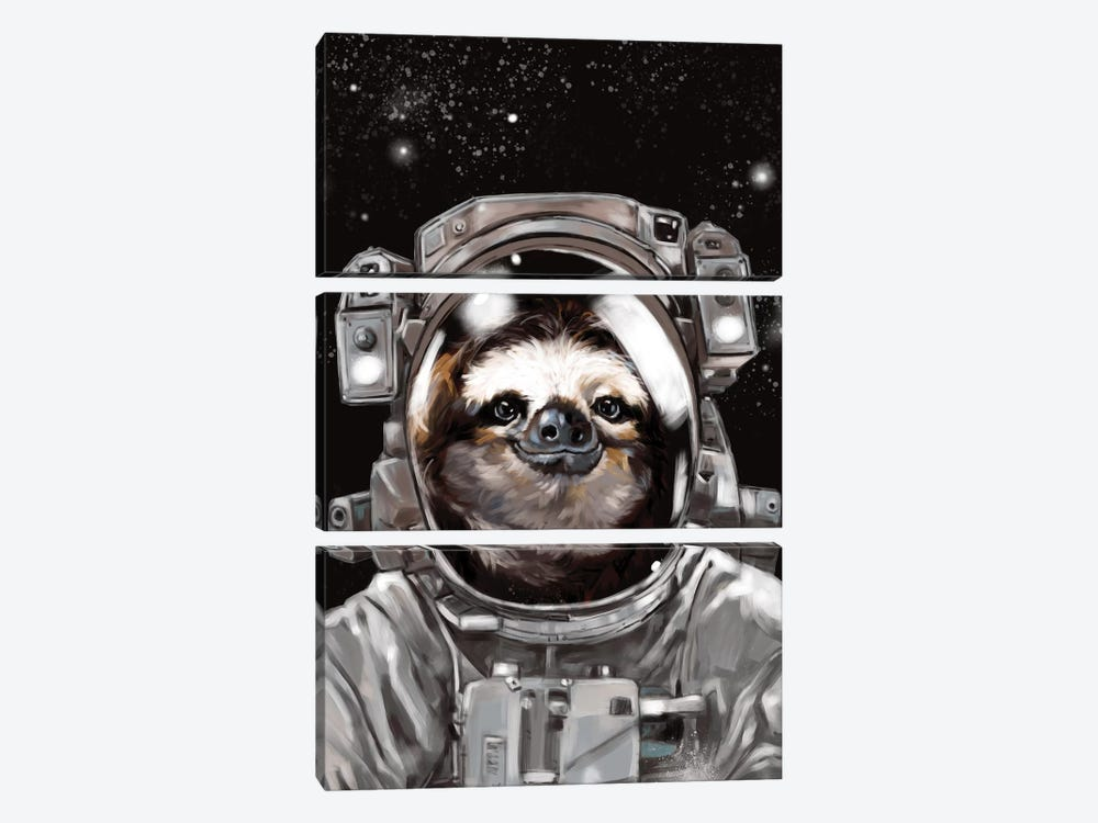 Astronaut Sloth Selfie by Big Nose Work 3-piece Canvas Wall Art