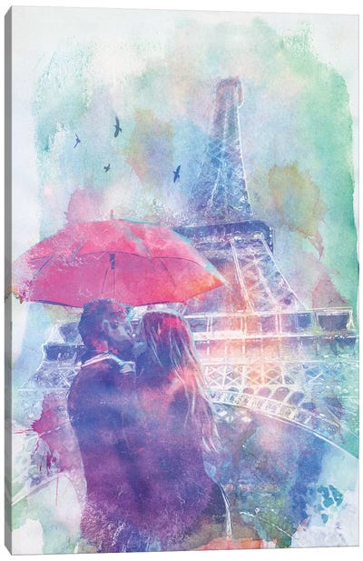 Eiffel Tower Love Canvas Art Print
