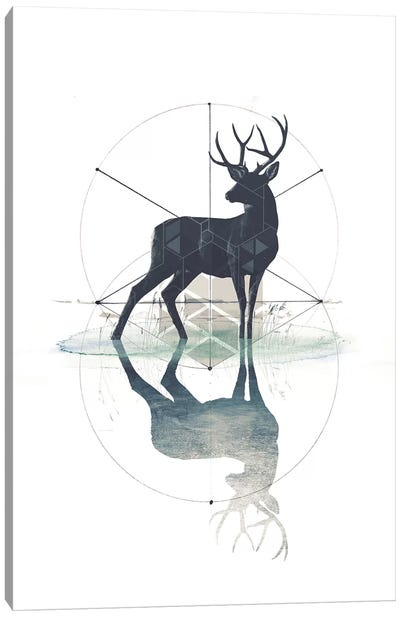 Geometric Stag Canvas Art Print