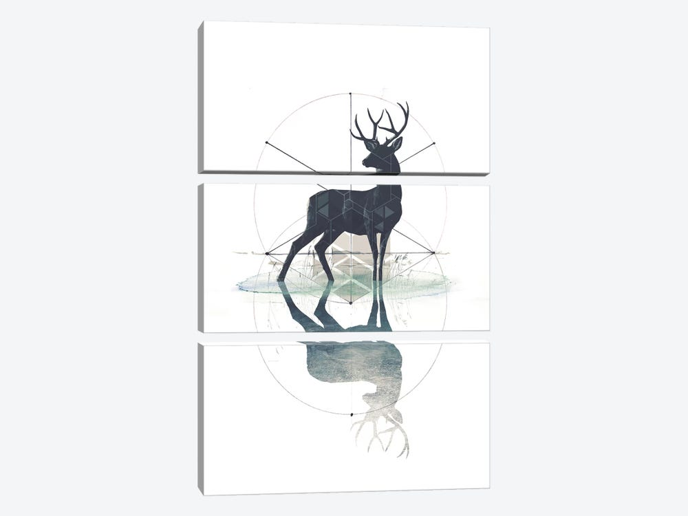 Geometric Stag by 33 Broken Bones 3-piece Canvas Wall Art