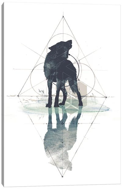 Geometric Wolf Canvas Art Print