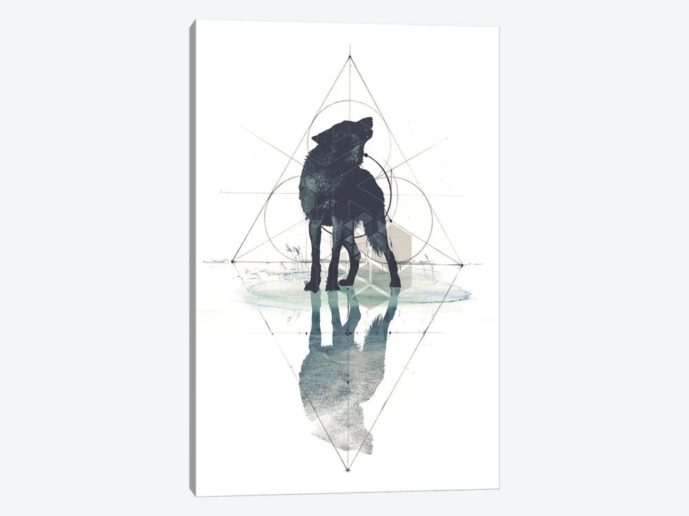 Geometric Wolf 1-piece Canvas Art Print
