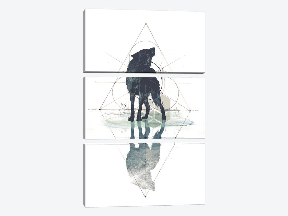 Geometric Wolf 3-piece Canvas Art Print