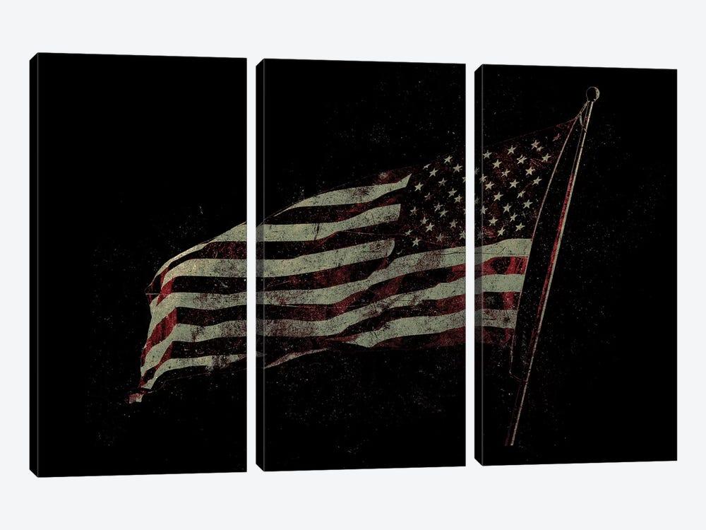 American Flag by 33 Broken Bones 3-piece Canvas Print