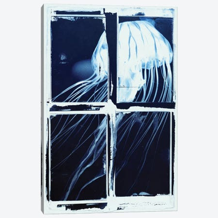 Indigo Jellyfish Squares Canvas Print #BNZ26} by 33 Broken Bones Canvas Art Print