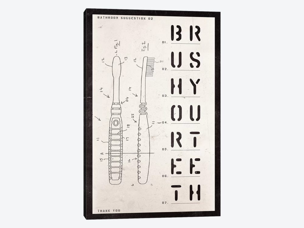 Toothbrush Patent Print by 33 Broken Bones 1-piece Canvas Artwork