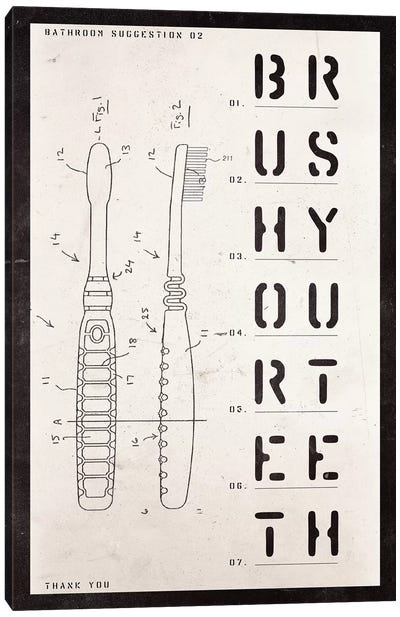 Toothbrush Patent Print Canvas Art Print