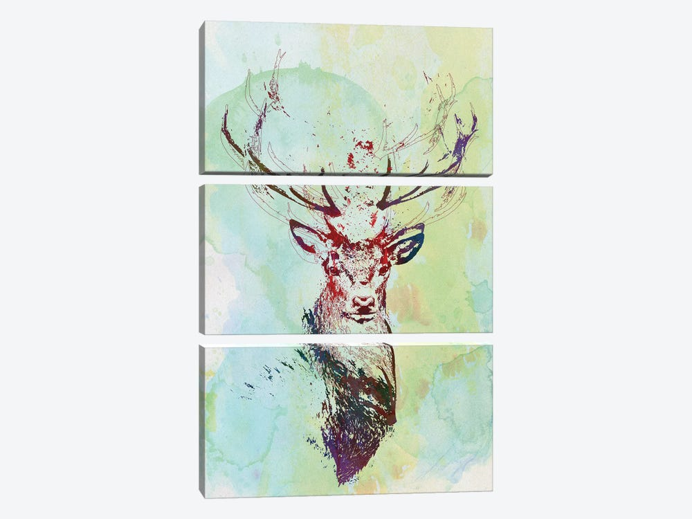 Watercolor Wildlife I by 33 Broken Bones 3-piece Art Print