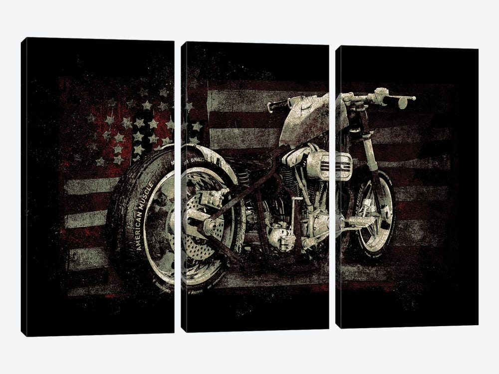 American Muscle: Motorcycle II by 33 Broken Bones 3-piece Canvas Wall Art