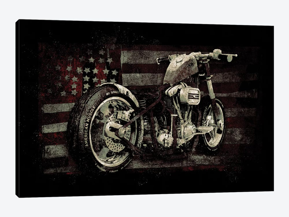 American Muscle: Motorcycle II by 33 Broken Bones 1-piece Canvas Wall Art