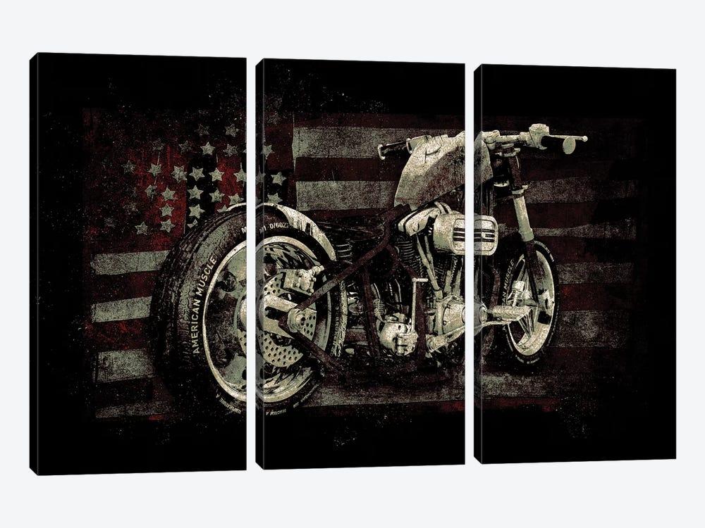 American Muscle: Motorcycle II by 33 Broken Bones 3-piece Canvas Wall Art