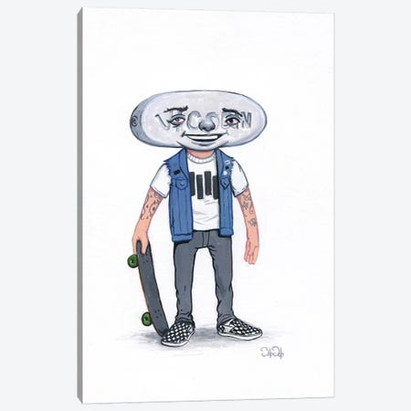 Pill Head Skater Canvas Print #BOD21} by Bob Dob Art Print