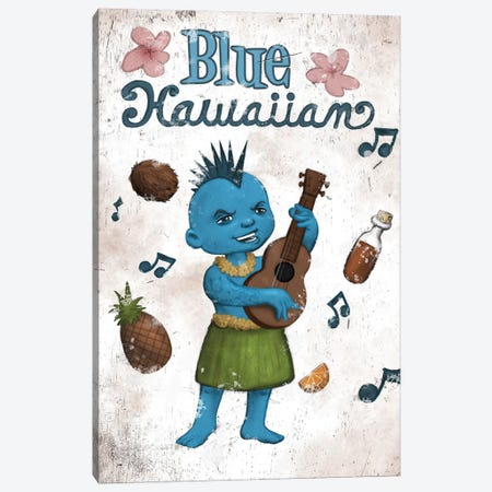 Blue Hawaiian Canvas Print #BOD4} by Bob Dob Canvas Wall Art