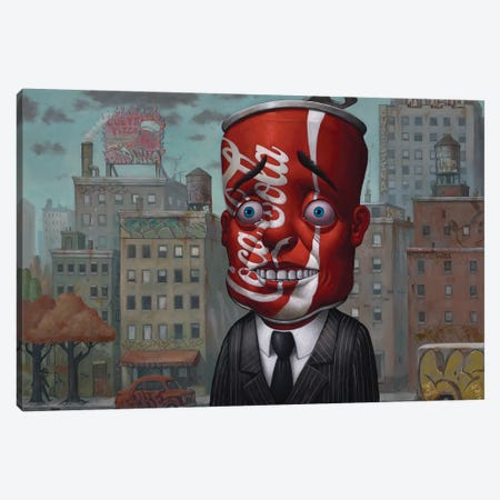 Coke Head II Canvas Print #BOD7} by Bob Dob Canvas Artwork