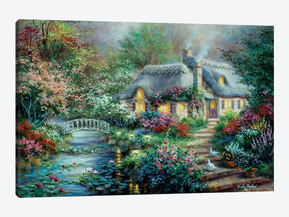 Little River Cottage by Nicky Boehme 1-piece Canvas Artwork