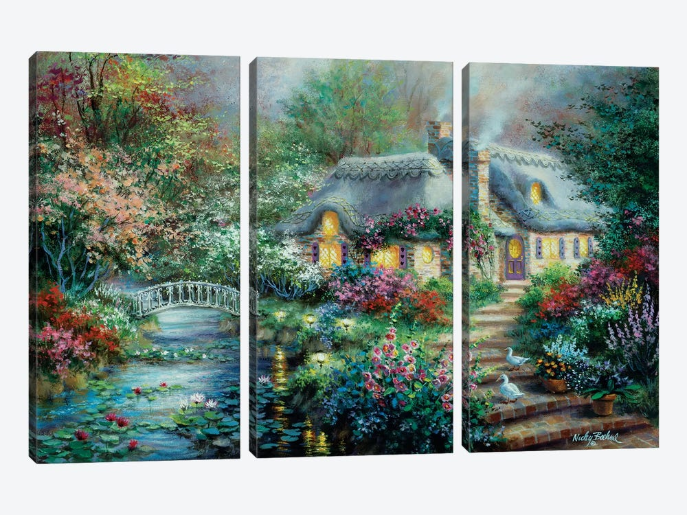 Little River Cottage by Nicky Boehme 3-piece Canvas Art