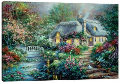 Little River Cottage Canvas Art Print