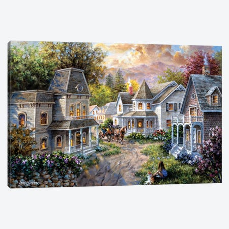 Main Street Along A Country Village Canvas Print #BOE102} by Nicky Boehme Canvas Artwork