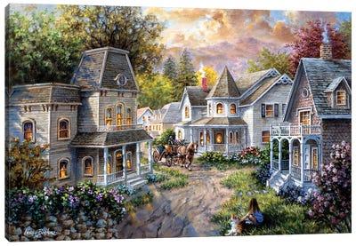 Main Street Along A Country Village Canvas Print #BOE102