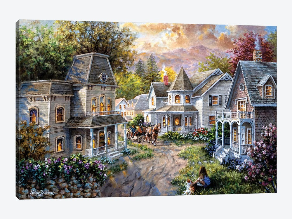 Main Street Along A Country Village by Nicky Boehme 1-piece Canvas Artwork
