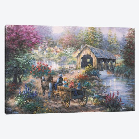 Merriment At Covered Bridge Canvas Print #BOE107} by Nicky Boehme Canvas Art Print