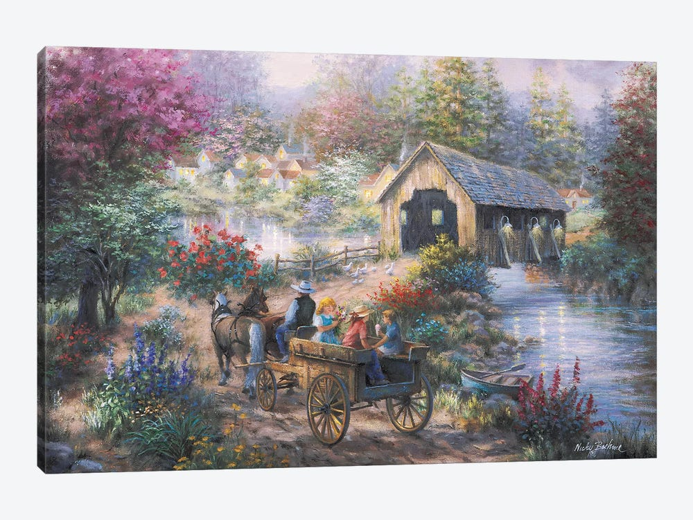 Merriment At Covered Bridge 1-piece Canvas Print