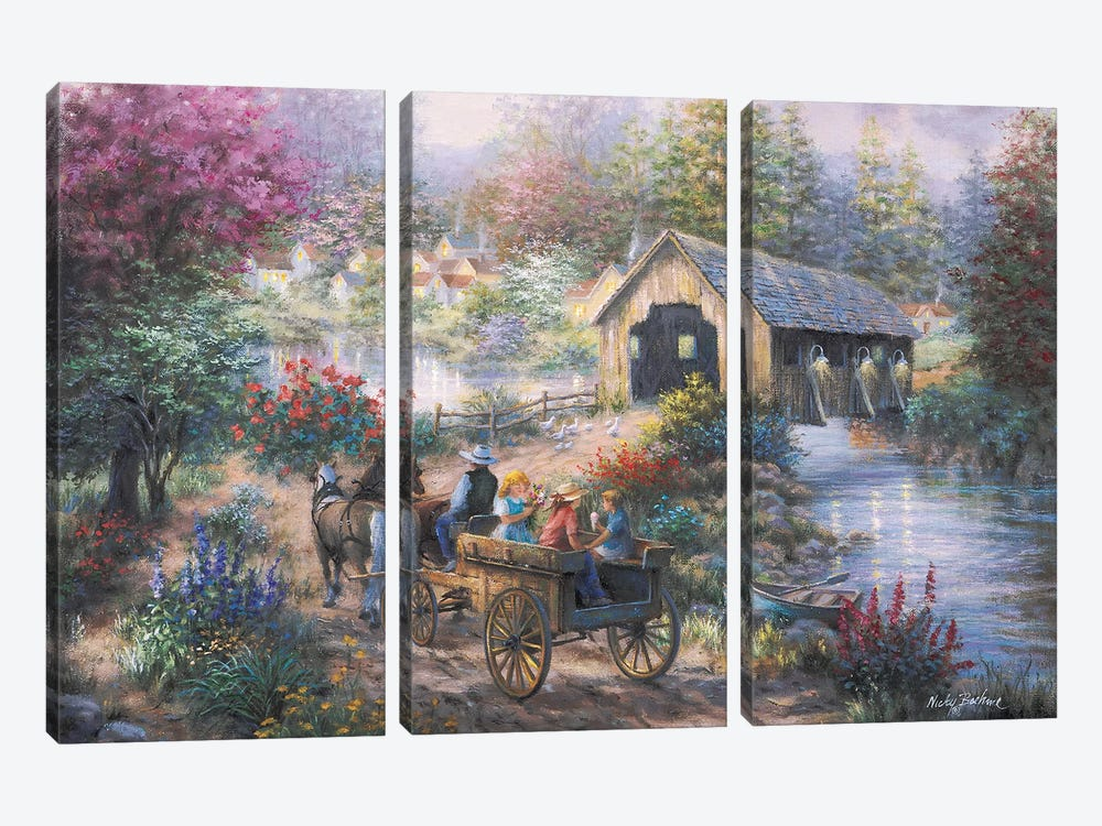 Merriment At Covered Bridge 3-piece Canvas Art Print